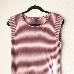 J Crew Brown and White Cap Sleeve T Shirt Small